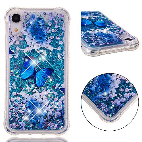 DECVO Glitter Case Compatible with iPhone XR iPhone 9 【6.1 Inch】 Luxury Fashion Bling Flowing Liquid Floating Sparkle Glitter Cover Print Unicorn Cute Cartoon TPU Bumper Case (Butterfly)