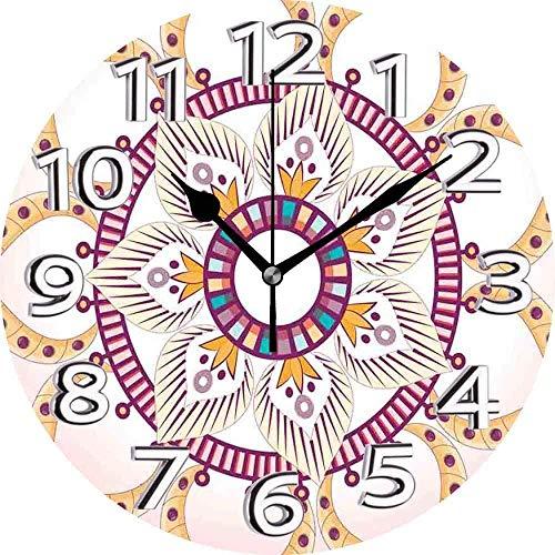 AZHOULIULIU Co.,ltd Mandala Bohemia Flor de Nueve pétalos Anidado Circular Simplista Mandala Rosa Rosa Seca Naranja pálido Reloj silencioso