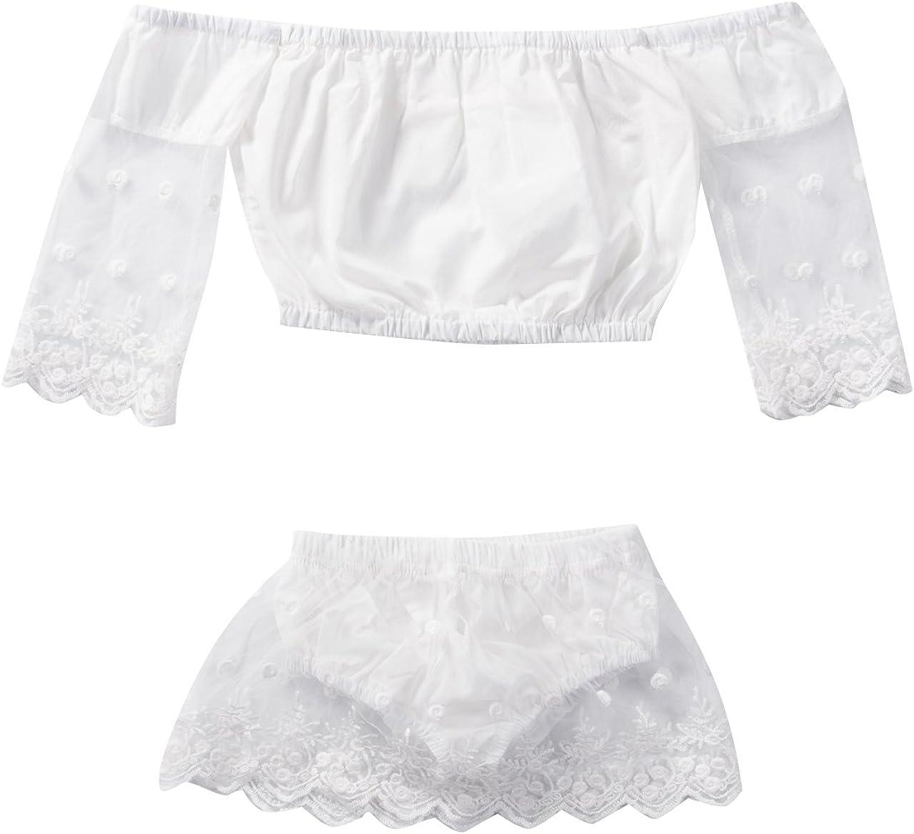 Newborn Baby Girls Manufacturer OFFicial shop Off Shoulder Lace 2Pcs Tops Low price Part Dress Shorts