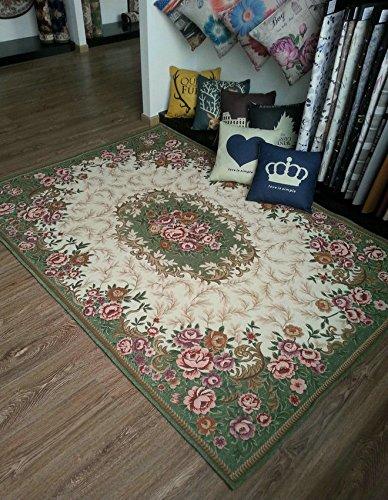 GRENSS Mode Rutschfeste Jacquard Teppich für Wohnzimmer/Esszimmer Schlafzimmer Matte Teppich, Grün, 90cmx140CM