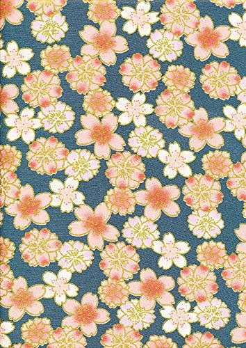 Teal/verde oscuro – 1 Quarter Fat (48 cm x 55 cm) Gilded Japanese Oriental Floral 100% algodón Elegante Tela Oro Foil Floral Cherry Blossom Impreso Costura Bolsa de acolchado proyectos de fabricación