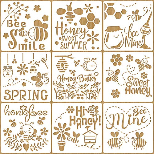 Spakon 9 Pieces Bee Stencils Honeycomb Stencils Reusable Art Drawing Template Honey Bee Honeycomb Flower Pattern Stencils for Paint Craft Wall DIY Fabric Floor Home Decor Wood Signs, 7.9 x 7.9 Inch
