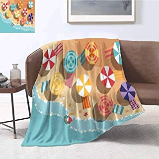 Mademai Beach Blanket Sofa Blanket Summertime Seacoast with Colorful Umbrellas Stars Flat Design Aerial View Vacation Household Blanket 60