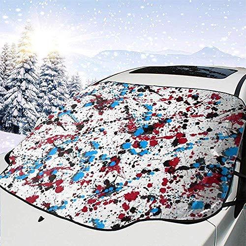 Hiram Cotton Car Sunshade Gocce di Vernice Spray Blu E Rossa Copertura Parabrezza Auto Scudo da Neve Rimozione Ghiaccio Tergicristallo Protezione Parasole Auto Parasole per Auto Camion SUV