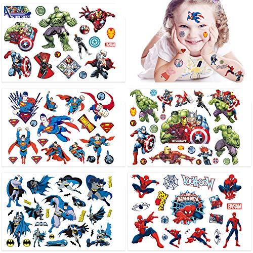 Qemsele Tatuaggi temporanei per Bambini, 10 Sheet 200+ Pcs Unicorno Tatuaggi Finti temporanei Adesivi per bambini Ragazzi festa di compleanno sacchetti regalo Giocattolo (Supereroe)