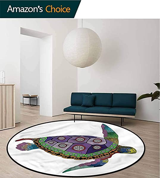 Psychedelic Round Area Rug Sea Turtle Animal Artsy Foam Mat Living Room Decor Diameter 24