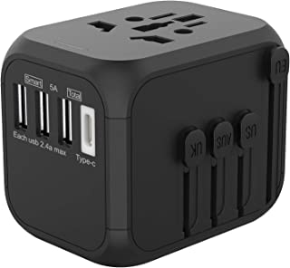 Jollyfit International Universal Travel Adapter Type C and 3 USB Charger AC Power Wall Plug US UK AU EU Worldwide 150 Countries with Safe Fuse for Europe Asia Germany France Italy India China Russia American British European Adapter (Blue 3 USB and Type-C)