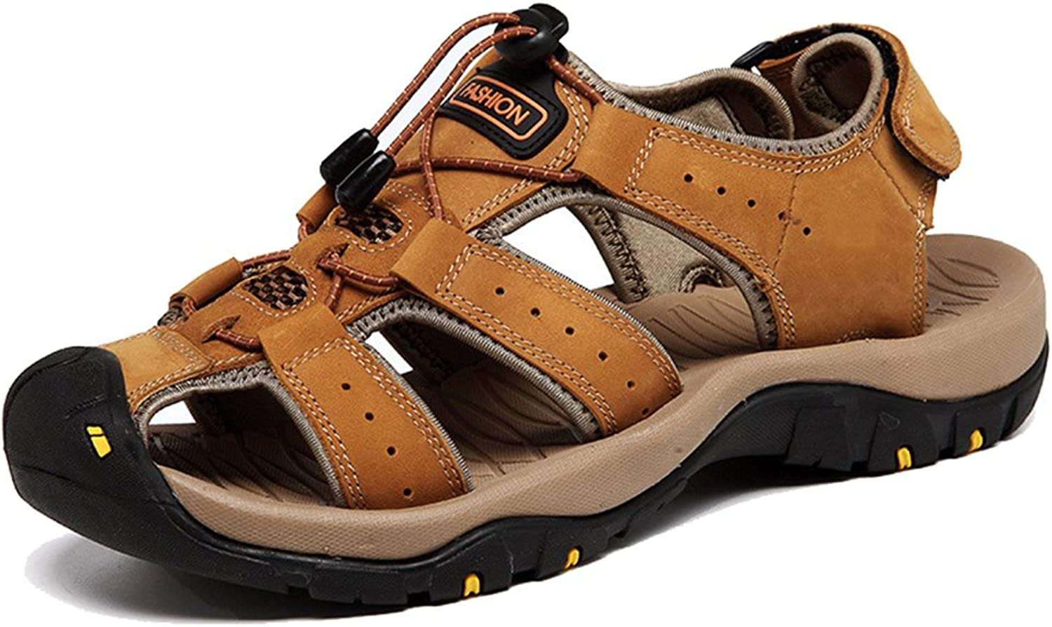AGOWOO Women's Casual Leather Closed Toe Hiking Beach Sandals