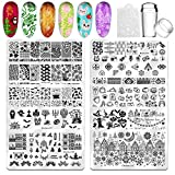 Biutee Nail Stamping Plates 10Pcs Kit with Silicone Clear Stamper Nail Scraper Animals Christmas Halloween Flowers Plants Geometric Figures Musical Symbols for Nail Art Template Image Plate