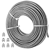 VEVOR Galvanized Steel Cable, 1/4'' Aircraft Cable, 100ft Galvanized Cable 7x19 Construction Steel Wire Cable w/Cable Clamps, 7040lb Breaking Strength for Railing Decking, Lifting, Hanging, Fencing