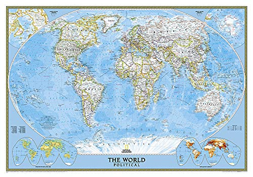 National Geographic: World Classic Wall Map - Laminated (43.5 x 30.5 inches) (National Geographic Reference Map)