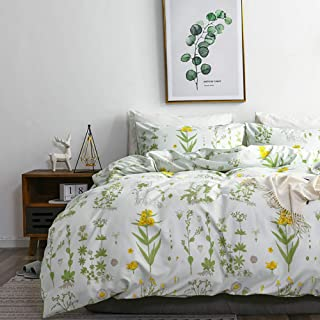 TanNicoor Herb Flowers Duvet Cover Set,Lightweight Microfiber Duvet Cover Set with Zipper Closure,Yellow Flowers and Green...