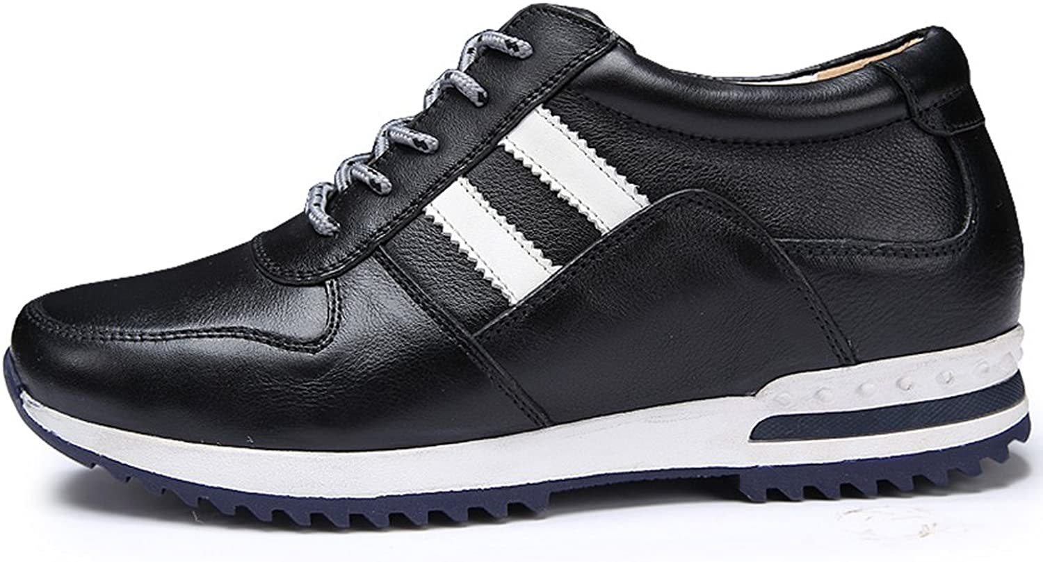 SXD 2.36 Inches Taller New Men's Height Increasing Elevator Sneakers Black Lace Up