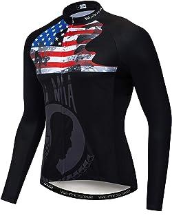 JPOJPO Cycling Jersey Men,USA Cycling Jersey Long Sleeve,Bike Jersey Full Zipper, Breathable Biking Shirts USA Style