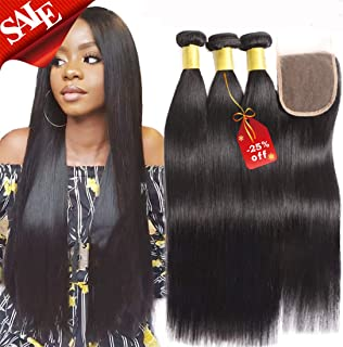 Brazilian Virgin Straight Human Hair 3 Bundles with Lace Closure Grade 8A Double Weft Long Inch Human Hair Extension with 4X4 Lace Closure Natural Black Color (22 24 26 with 20 Inch Closure)