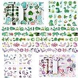 Liuer 2 Scatole Nastri Adesivi Colorati Washi Tape Decorativi Nastro Adesivo per Decorare Agende, Scrapbook, Album Foto e Progetti Artistici (Unicorni e Dinosauri)