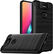for Asus Zenfone 6 ZS630KL Case, Zenfone 6Z Shock-Absorption Slim Fit Flexible TPU Case Brushed Texture Soft Rubber Protective Cover (Black)