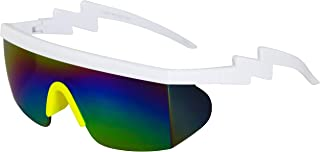 Semi Rimless Goggle Style Retro Rainbow Mirrored Lens ZigZag Sunglasses