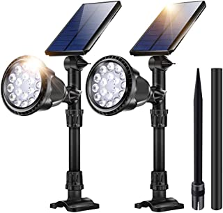 Outdoor Solar Lights, 18 LED Spotlight Waterproof Landscape Lights Solar Security Lamps for Garage Deck Garden Wall (White Light, Pack of 2)