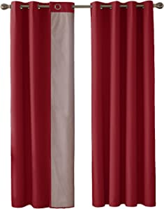 Deconovo Double Layer Oxford with Silver Lining Light Reflecting Thermal Insulated Curtains Blackout Curtains Eyelet Curtains for Kitchen Red 46x54 Inch 2 Panels