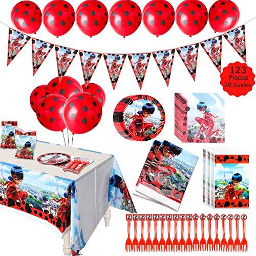 GROBRO7 123Pack Ladybug Themed Party Supplies Ladybug Birthday Decoration Tableware Kit Ladybug Banner Balloons Baby Shower Complete Decor Favor Ladybug Goodie Bags Plates Tablecloth for 20 Kids Adult