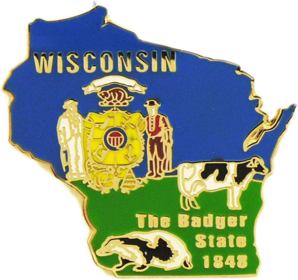 Wisconsin State Shaped Oakland Mall Map Max 79% OFF Lapel Pin Metal