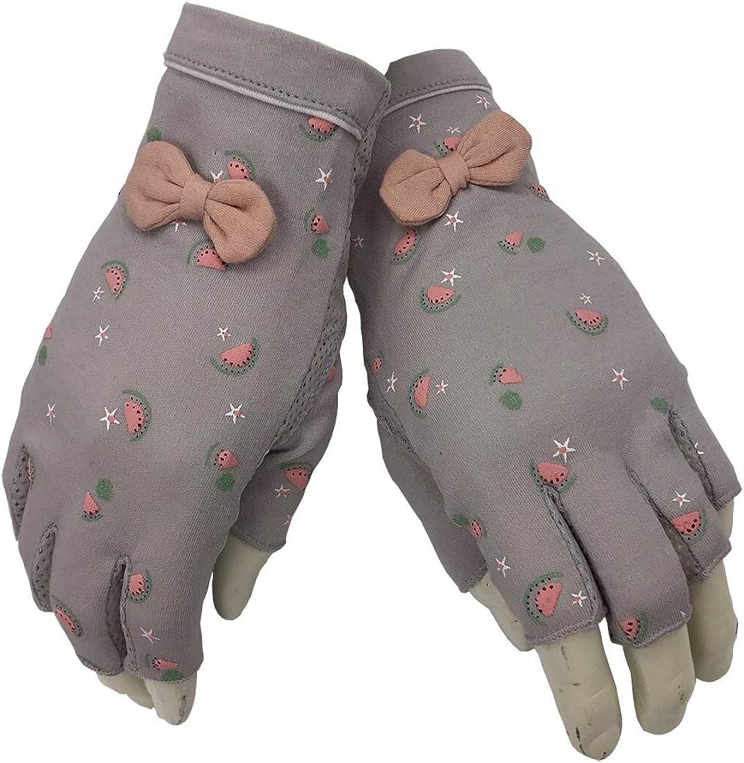 UV Sun Protection Driving Non slip Fingerless Gloves cute ribbon Cotton Driving Summer Outdoor Gloves for Women and Girls
