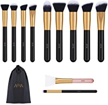 Foundation Brushes for Makeup - 10 Pcs Professional Cosmetic Tools and 1 PCS Silicone Face Mask Brush are Made of Solid Wood Handle Black Mix Rose Gold
