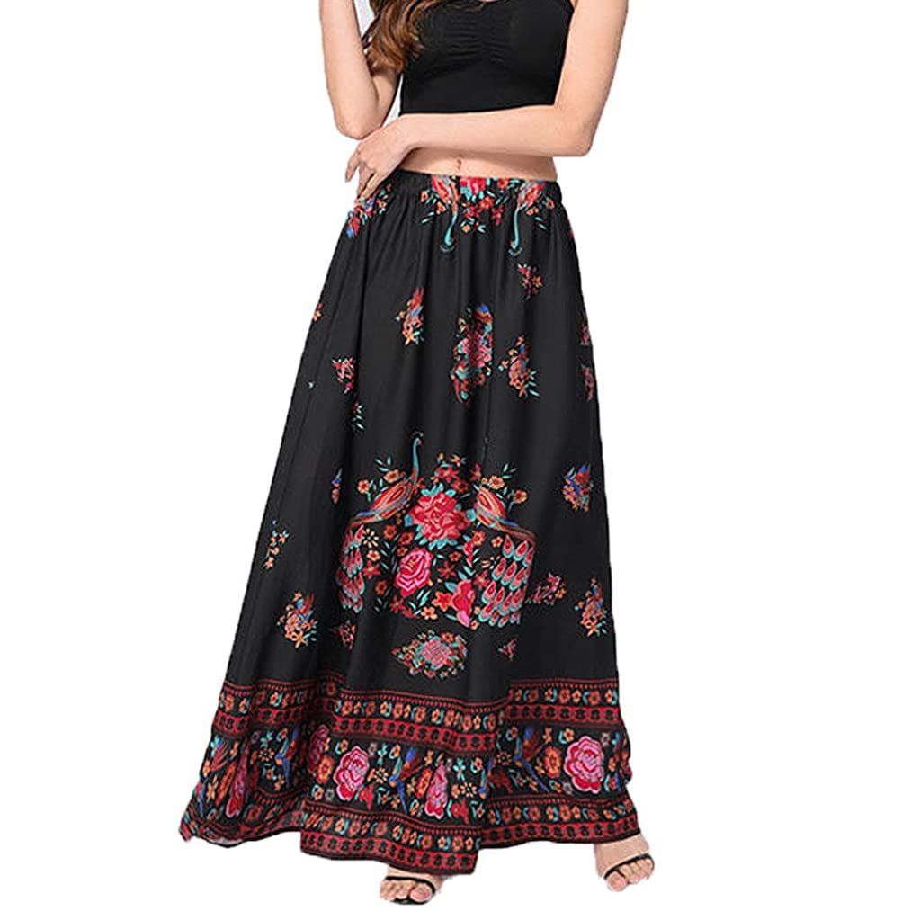Hunzed Women【Printed Swing Skirt】 Women High Waist Long Skirt Boho Maxi Skirt Summer Beach Holiday Dress Black