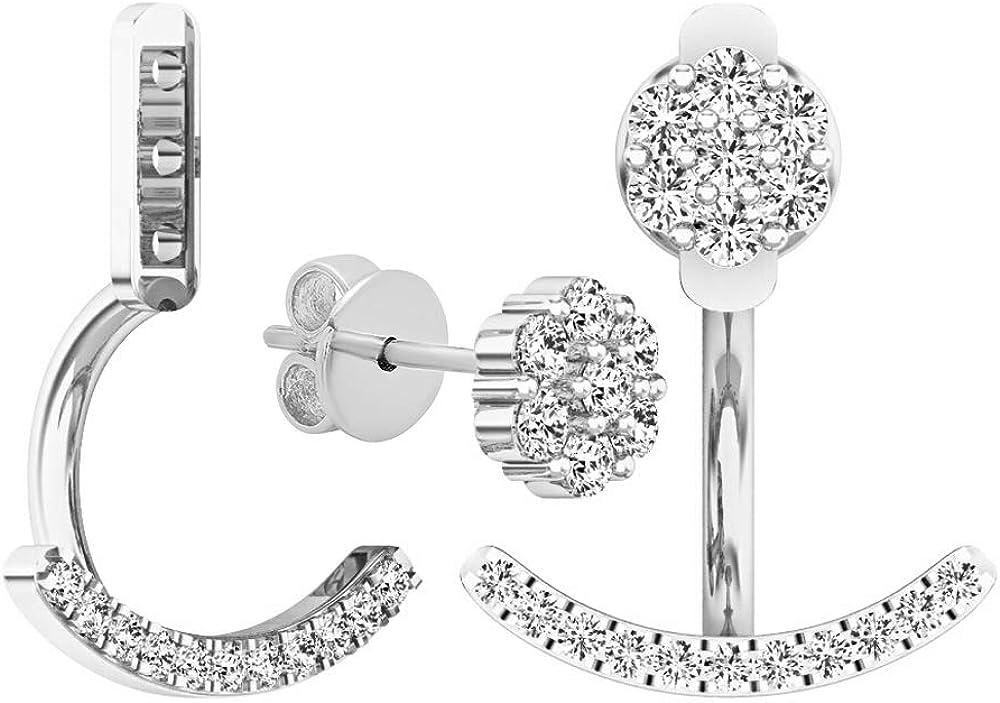 Dazzlingrock Collection 0.25 Carat (ctw) 10K Gold Round White Diamond Pendulum Stud Earring Jackets 1/4 CT