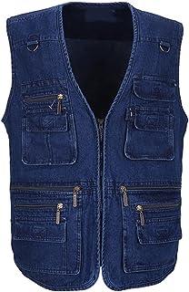 Denim Men Vest Cotton Sleeveless Jackets Blue Casual Fishing Vest with Many