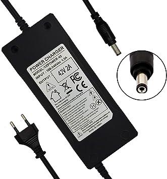 YZPOWER Cargador de batería para bicicleta Patinete electrico (36 V, salida 42 V, 2 A, CC: 5,5 x 2,1)
