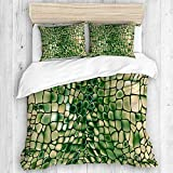 KOSALAER Bettwäsche-Set,Mikrofaser,grünes Krokodil,1 Bettbezug 135 x 200cm + 2 Kopfkissenbezug 50 x 80cm