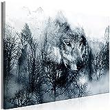 murando Quadro Lupo 120x80 cm Stampa su tela in TNT XXL Immagini moderni Murale Fotografia Grafica Decorazione da parete 1 pezzo Montagna Paesaggio blu nero bianco g-A-0140-b-b