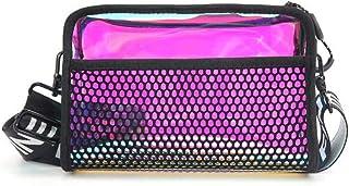 Simple messenger bag, portable phone bag, small shoulder bag, laser multifunction bag, TPU female bag, waterproof material, shiny blue, pink (Color : Red, Size : One size)
