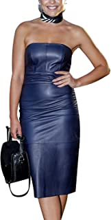 Royale Leather Celebrity Casual Bodycon Cowhide Real Leather Sexy Party and Club Women Dress