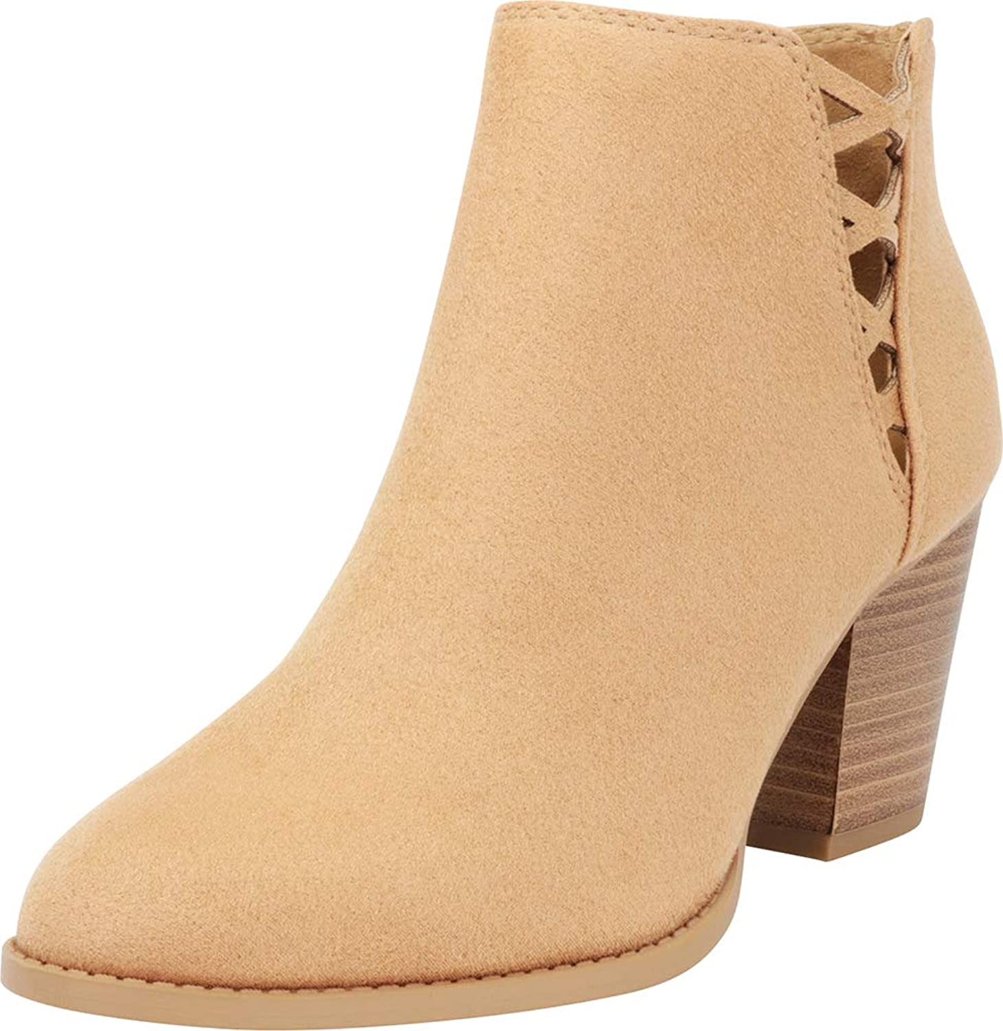 Cambridge Select Women's Side V Cutout Corset Lace Chunky Stacked Heel Ankle Bootie