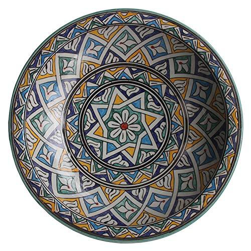 Casa Moro Orientalische Keramik Schale Ø 34 cm Groß F021 | Handbemalte Servierschale Obstteller Schüssel | Handmade Teller Salatschüssel Obstschale | KSF021