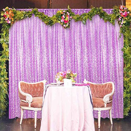 Sequin Curtains 4FTx8FT Glitter Sequin Backdrop Curtains Lavender Sequin Photo Backdrop Sequin Window Curtains Payette Sequin Curtain Panels Wedding Party Background Drapes (4FTX8FT, Lavender)