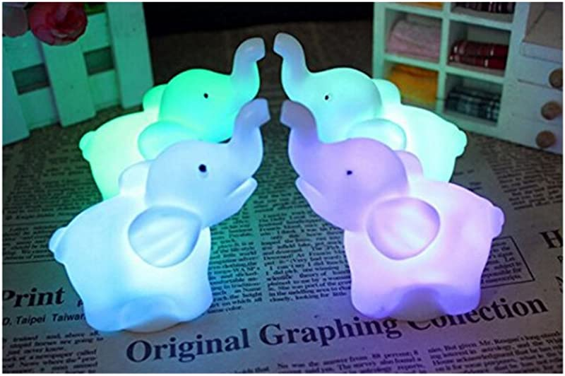 2Pcs Pack Elephant Shape Color Changing LED Night Light Lamp Venue Party Decor