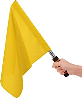 Oasis-X Referees Flag Football Hand Flags Rugby Linesman Flags Referees Assistant Equipments Small Signal Flag Stainless Steel Athletic Competition Handy Flag Track and Field Sports Training Flag
