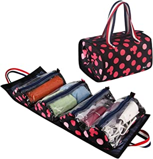 Jovilife 4 in 1 Hanging Roll up Makeup Bag, Travel toiletries Bag - 4 Kit Removable Toiletry Bags for Men and Women, Mickey Red