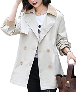 Womens Jacket Elegant Double Breasted Short Outdoor Belted Trench Coat Jacket