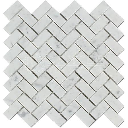 Carrara White Italian Bianco Carrara Marble 1 X 2 Herringbone Mosaic Tile Honed