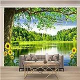 Msrahves fotomurales decorativos pared 3d Verde bosque lago paisaje Fotomural Vinilo para Pared Infantil Fotomural para Paredes Mural Decorativo Decoración comedores Salones Habitaciones