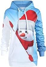 LODDD Women Hoodie Christmas Kangaroo Pocket Cartoon Snowman Print Sweatshirt Pullover