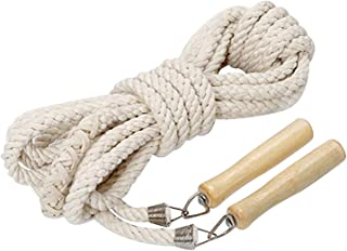 JoJoSports Wooden Handle Skipping Rope Natural Eco Friendly Cotton Jumping Ropes Long for Women Men Kids - Great for Gym,Exercise, School, Single or Group Jumping 3m/5m/7m/10m/15m KP7