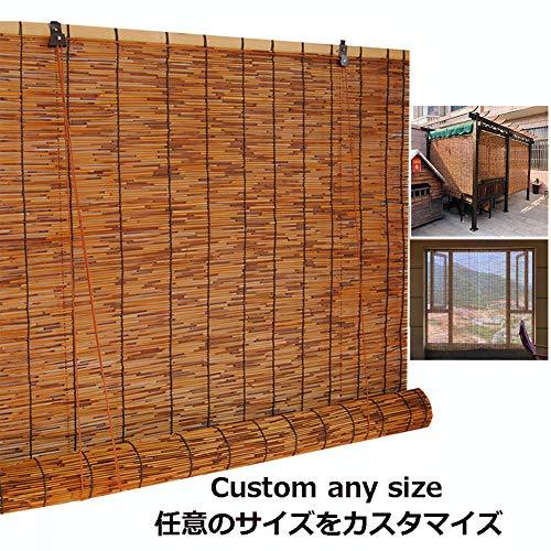 SHXF Bambusrollos für aussenbereich, Natür Schilfrollos, Sichtschutz Bambus Rollo, wasserdicht, für Fenster, dachfenster, Galerie