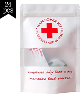 Crisky Hangover Kit Bags, Recovery Kit Bags, Bachelorette Party Decorations, Waterproof, Package of 24 Empty Bags, 5