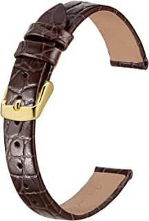 BISONSTRAP Klockarmband i läder, mjuka ersättningsband med polerat spänne, 12 mm 14 mm 16 mm 18 mm 19 mm 20 mm